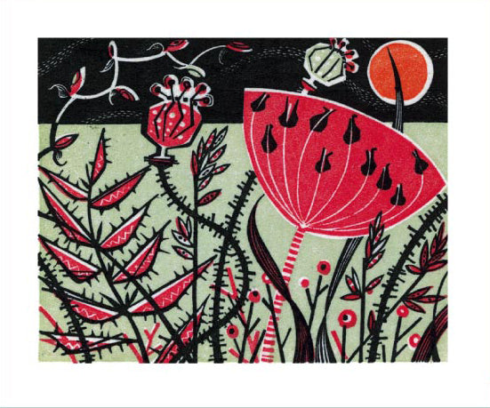 Greetings Card - Red Meadow : Angie Lewin