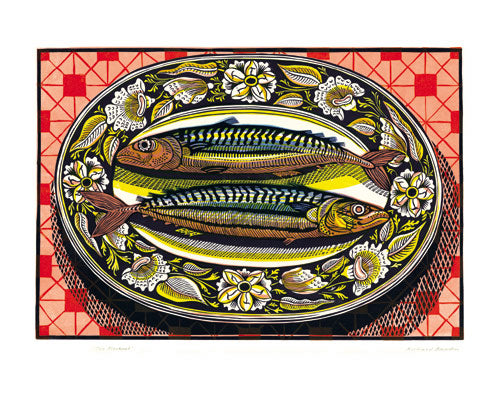 Greetings Card - Two Mackerel : Richard Bawden