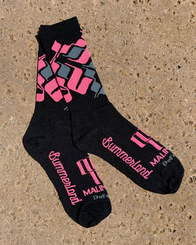 image of pink, black, and grey socks laying flat on concrete