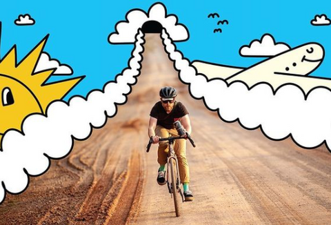 man riding bike on a dirt road, surrounded by an illustration of clouds and a plane and a sun, blue, yellow, white