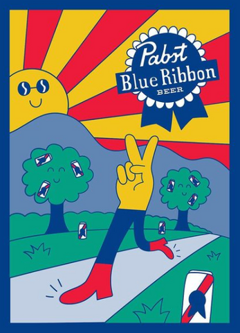 Illustration of a hand showing the peace sign with legs, walking down a road, with trees bearing pabst cans in the background