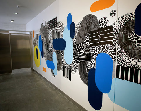 Photo of a mural painted on a wall in an office