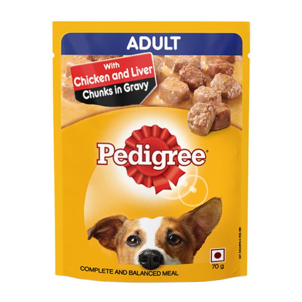 Pedigree Gravy Adult Chicken and Liver Chunks Flavour Wet Dog Food
