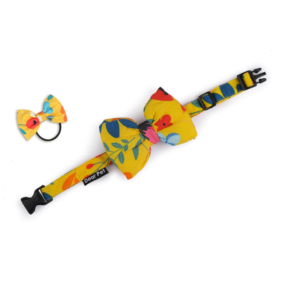 Dear Pet Blooming Yellow Elastic Hairband with Bow Tie for Dogs