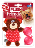 GiGwi Plush Friendz Dog Toy with Refillable Squeaker - Bear