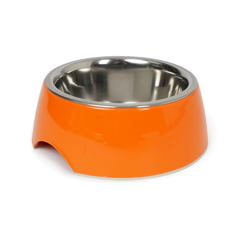 Dear Pet Curve Cut Dog Bowl in Orange