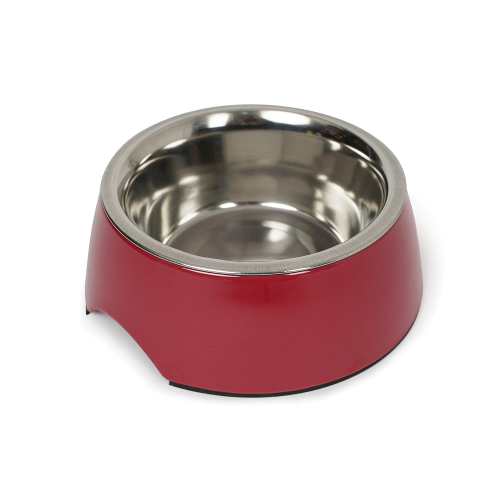 Dear Pet Curve Cut Dog Bowl in Maroon