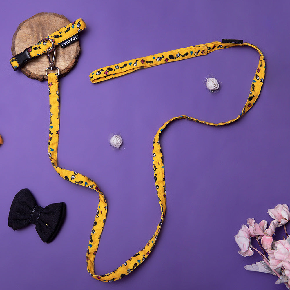 Dear Pet Something's Fishy Cat Collar & Leash Set in Yellow