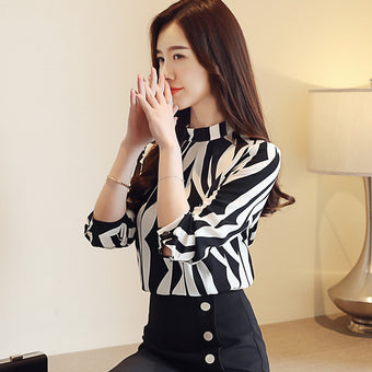 Blouse long sleeved printed women top stand collar slim