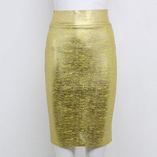 Chic Pencil Skirt Gold Silver Knee Length