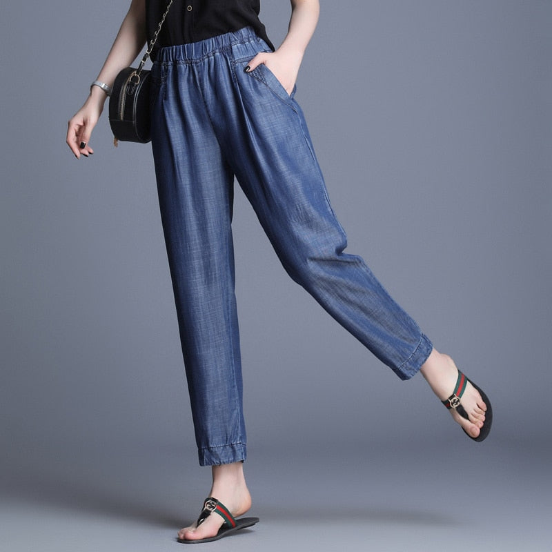 Jeans Women Elastic High Waist Loose Harem Pants Jeans Female Blue Soft Leisure