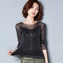 Glitter Mesh Blouse Sexy Womens Shirts Long Sleeve Tops O-Neck
