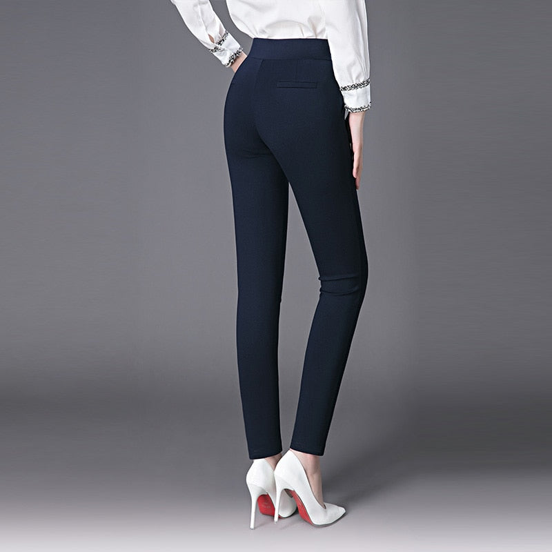 Pencil Pants Elastic High Waist Comfort Soft Slim