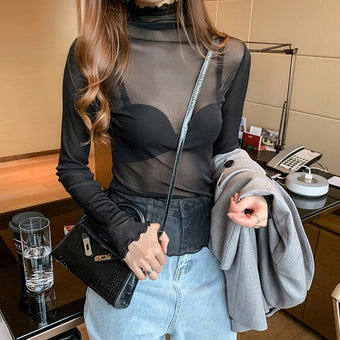 Blouse Long Sleeve Transparent Turtleneck Shirt