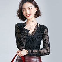 Blouse V Neck Lace Long Sleeve Mesh Pattern Floral