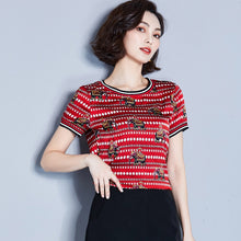 Blouse Shirt Casual Short Sleeve Women Tops Silk Print