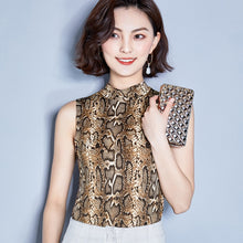 Mock Neck Snake Print Casual Sleeveless Slim Shirt Top Tee Leopard