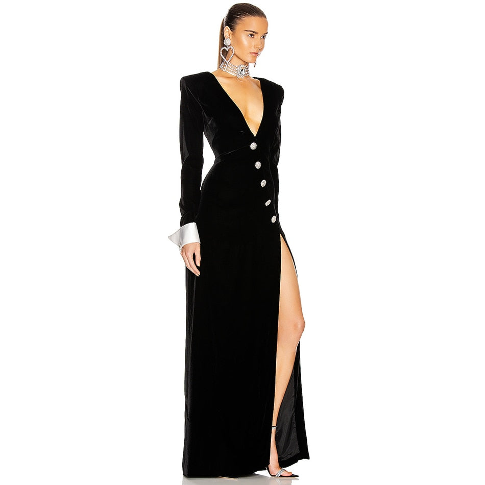 Long Sleeve Maxi Dress Sexy V Neck Black Patchwork Diamond
