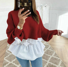 Colorblock Insert Ruffles Ribbed Batwing Sleeve Blouses