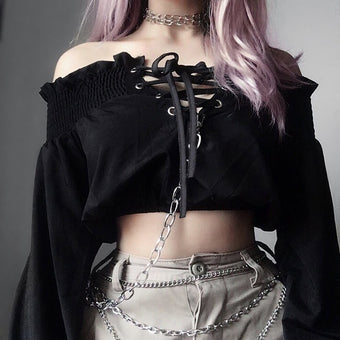Gothic Off Shoulder Black Blouse Women Ruffles Lace Up Long Sleeve