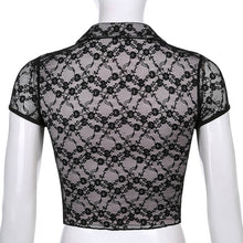 Lace Top Cropped Women's Blouses Slim Double Layer