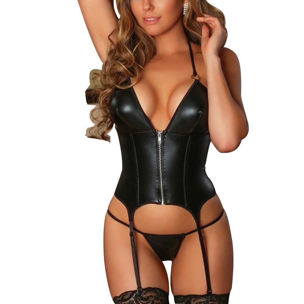 Sexy Leather Lingerie Women Zipper Sexy Underwear Thong With Garter Lenceria Set