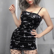 Harajuku Black Dress Women Gothic Spaghetti Strap Backless Off Shoulder