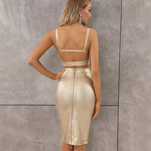 Style Sexy Gold Bronzing Knee Length Midi Bodycon Bandage Skirt