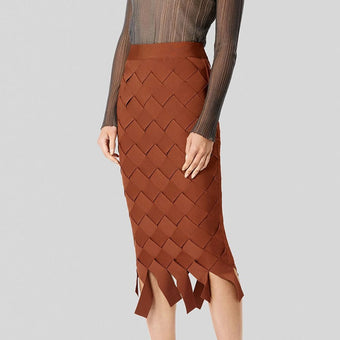 High Street Women Sexy Brown Weave Midi Knee Length Bandage