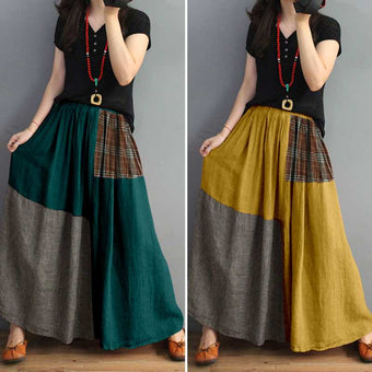 Print Skirt Plaid Patchwork Casual Elastic Waist Maxi