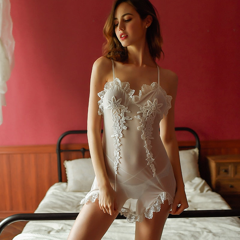 Lingerie Perspective Dress Foreign Trade Female Net Yarn Strap
