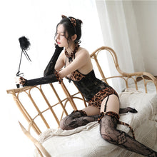 Leopard print Hanging Neck  Women's Sexy Lingerie For Couple