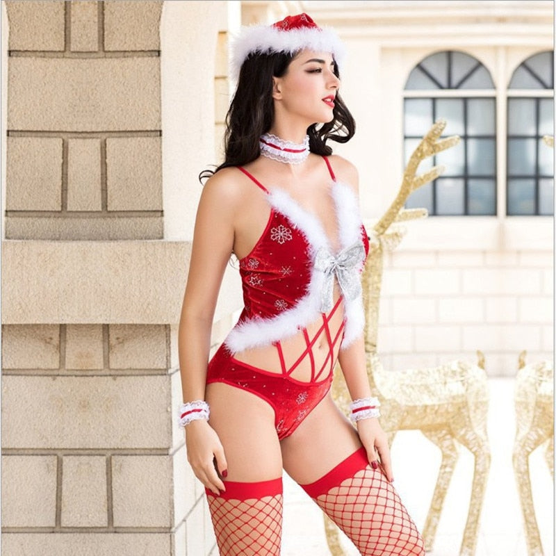 Lingerie Set Chtistams Bodysuit Santa Lady Cosplay Sexy