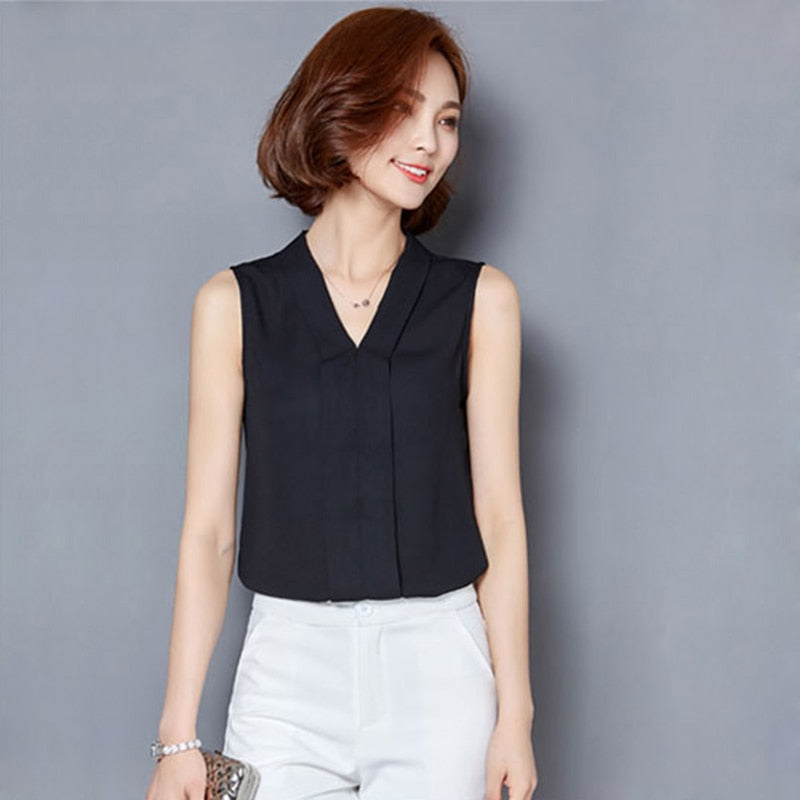 Chiffon Blouse Shirt Women V-neck Sleeveless Blouses