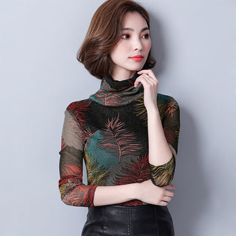Print Floral Shirt Mesh Turtleneck Vintage Blouse Long Sleeve