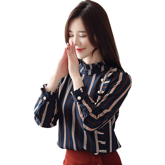 Blouse Shirts Striped Butterfly Long Sleeve Button Slim Pullover