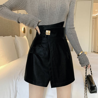 High Waist Irregular Wide Leg Shorts Skirts Black Zipper