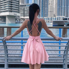 Satin Backless Sleeveless Dresses Spaghetti Straps Elegant