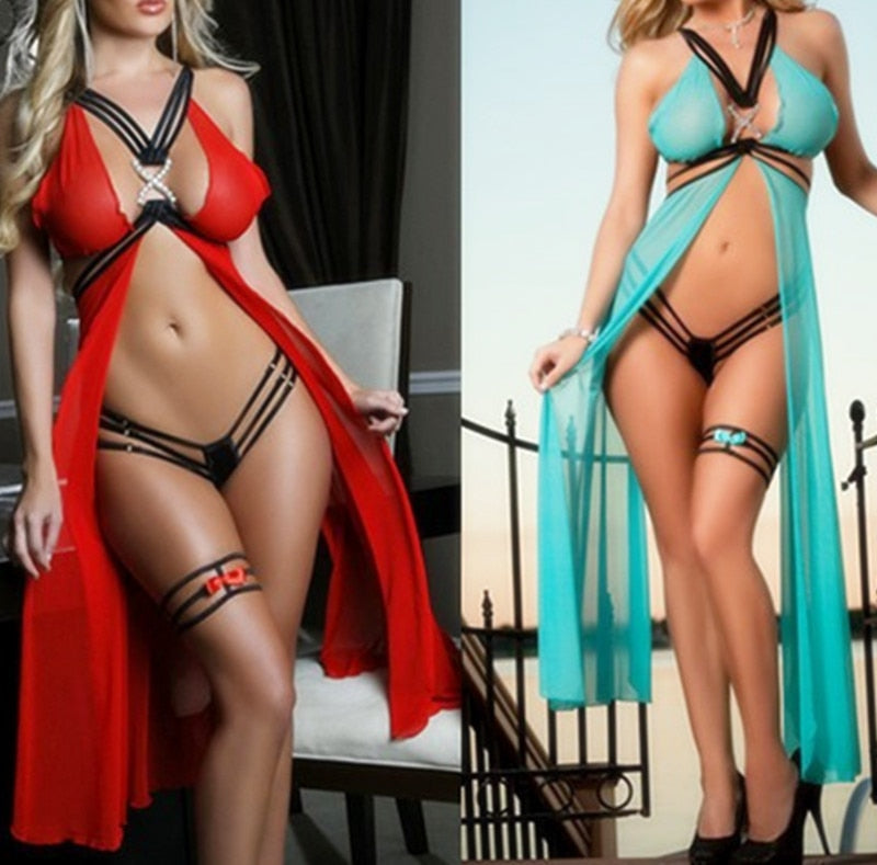 Lingerie Women Fashion Strappy Dessous Transparent Costumes