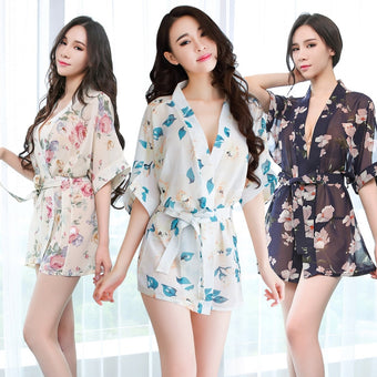 Lingerie  Silk Satin Robe Floral Bathrobe Short Underwear