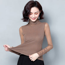 Shiny Lurex Elasticity Long Sleeve Shirt Women Blouse Turtleneck