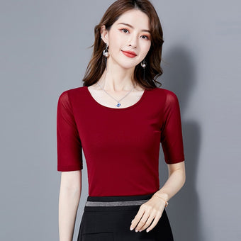 Half Sleeve Women's Casual Blouse O-Neck