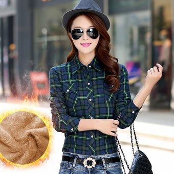 Velvet Thick Warm Women's Plaid Shirt Female Long Sleeve