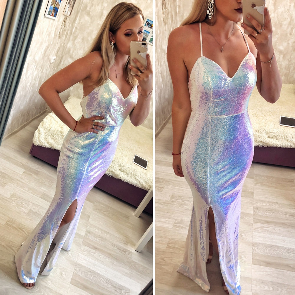 White Shiny Sequin Maxi Dress Split Front Cross Straps Backless