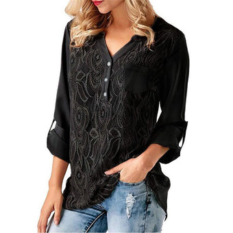 Black Blouse Lace Long Sleeve Splice Basic V Neck  Loose Tops