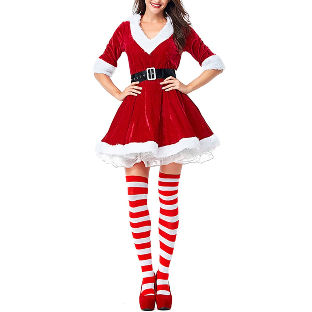 Women Christmas Red V-Neck Half Sleeve Santa Claus Dresses