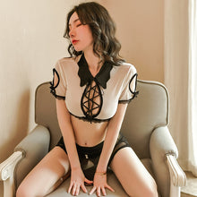Lingerie Suit Turn-Down Collar Hollow Tops Perspective Lace-Up Patchwork