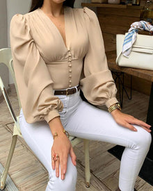 Womens blouses V-Neck Solid Lantern Sleeve Casual Blouse