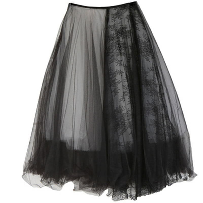 Skirt Contrast Color Asymmetrical Splicing Lace Loose Trendy Puffy