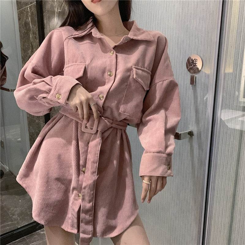 Velvet Ivory Pink Solid Turn Down Collar Long Sleeve Full Sleeve Long Shirt